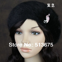 Free Shipping 2014 New Winter fashion beret hat Luxury diamond Crane millinery all match Angora blend beret ladies love hat