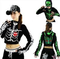 Women Men Sports Hip Hop Dance Jazz Costume Skeleton Skull Hooded Jacket Crop Top Coat