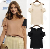 Plus size S-XL 2013 fashion ladies sexy chiffon shoulder off butterfly sleeve strapless ruffle shirt with 3 color