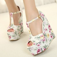 Sandalias Shoes For Women red bottom high heels open peep toe platform wedges sandals floral print shoes elegant strap pumps