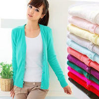 2015 New Fashion Autumn Winter Cashmere The Cardigan Knitted Sweater Women V-neck Long Sleeve W4941