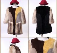 (S,M,L,XL)New Arrival 100% Genuine Fur Coat Rex Rabbit Fleece Berber Fur Overcoat For Women,Free Shipping