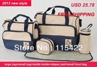 2013 hot sale multifunctional practical mommy diaper bag for baby 5pcs/set pregnant shoulder bag just yet free shipping
