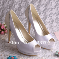 Free Shipping Peep Toes Pumps Designer Wedding Shoes Color Blocking Platform Heels With Diamond