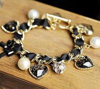Min.order is $10( Mix order ) Fashion Sweet Imitation-pearls Love Leopard Heart Bracelet Bangle Free Shipping--Lady Shop