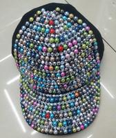 New season fashion cotton berets baseball caps popular pearl rivet spike cotton 6 panel sports cap sunshine hat wholesale price