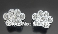wholesale 8mm 100pcs rhinestone paw slide charm fit for pet dog cat collar