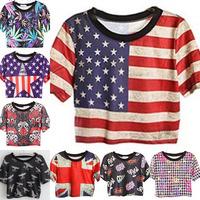 new 2013 promotion  HARAJUKU style t shirt women short shirt  eagle skull USA uk flag cross printing cotton tees crop tops