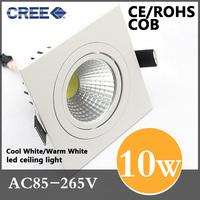 Free shipping high power aluminum led cob ceiling 86-265VAC 10W square cob led downlight(CE&ROHS)