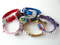 Wholesale DIY Name Personalized Pet Dog Cat Collar Metallic PU Leather ---except  Letters or charms
