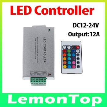 Aluminium RGB IR Remote Controller With 24Keys DC 12-24V 12A for SMD 3528 5050 RGB LED Strip Light 10M Free Shipping