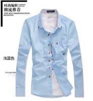 New Men's Slim Fit Shirts Stripe Collar Embroidery Decorated Wooden Button Shirt