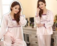 Wholesale  New style Ladies' pajamas set silk full- sleeve nightwear home clothing Wholesale JYJ-04 Freeshipping