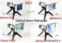 20pcs/lot* Aluminum 12X Optical Zoom Lens Camera Telescope For iPhone 4 4S 5 for Samsung Galaxy S3 S4,n7100 NOTE 2