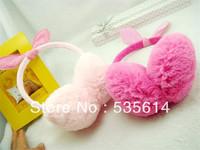 Retail ! Baby Kids Plush earmuffs Cute rabbit model earflap Princess warm earmuff 2 Colors Good quality Free shipping