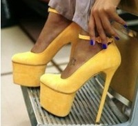 Hot sale ladies Sexy Yellow Platform Pumps High heels Party Shoes Woman 2013 Fashion