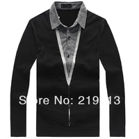 2013 new arrival spring and autumn fashion men plus size long sleeve casual outwear faux 2 pieces set t shirts XL 3XL 4XL 5XL