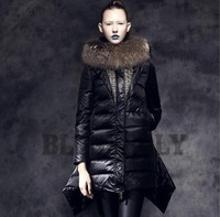 Blessedly High Quality Winter 2013 Large Fur Blazer Collar Asymmetric Length Slim  Patchwork  Thickening Blck Down Coat Female