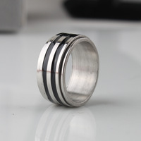 5pcs/lot 9mm black Double layer rotating stripes 316L Stainless Steel ring men jewelry Free shipping wholesale lots