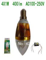 Free shipping 10pcslot E14 4W 4X1W 400lm Golden  Aluminum  Led Candle Bulb AC100-250V