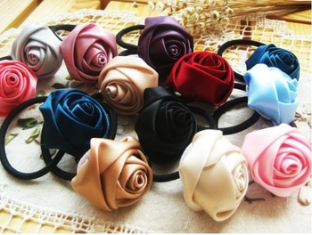60pcs/lot Rose Flower Elastic Cord Hair Wear Ponytail Holder Hair Tie Band Hairband Headband