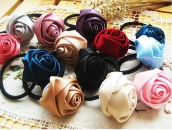 60pcs/lot Rose Flower Elastic Cord Hair Wear Ponytail Holder Hair Tie Band Hairband Headband