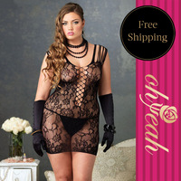 H3012P  Strappy Sheer Mini Dress With Crisscross Low Neckline Floral Lace bodystocking plus size fishnet  bodystocking xl