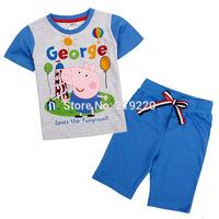 Free shipping Retail 2014 George pig kids Summer clothing sets t shirt+fashion shorts pants cotton suits Peppa pig Nova clothing