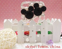 10PCS Handmade 3D Crystal Cute Rabbit heart Mickey Minnie Mouse Bling Diamond Hard Case Cover Transparent case For iPhone 4 4S