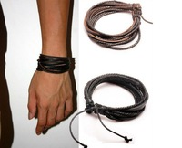 Free shipping 2013 New Arrival Wrap Leather Black and Brown Braided Rope Bracelet for Men and Women Charms Fashion Man Jewelry