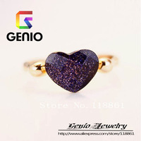 GN R340 18K Gold Plated Dark blue sky crystal high-grade HEART ring Made with Genuine SWA ELEMENTS Austria Crystals