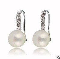 AAA 9-10MM gold plated genuine freshwater pearl earrings natural wholesale