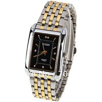 Latest Style! Sample YIQIN Y2339 Men Watch 5 Diamond Squares and Needles Hour Marks with Rectangle Dial Steel Watchband