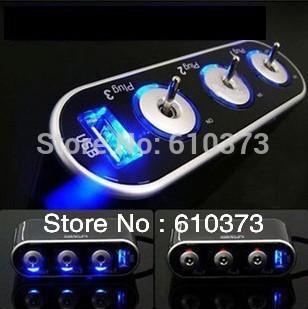 3 Way Car Cigarette Lighter three Socket Splitter DC 12V 24V USB charger and Triple socket with LED light and switch