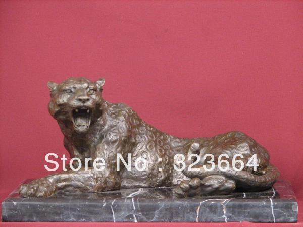 BRONZE SCULPTURE LEOPARD WILD CAT SAFARI STATUE(China (Mainland))