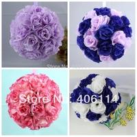1 Pcs 5inch Rose Flower Kissing Ball Wedding Flowers Decoration Lavender Royal blue Hot Pink White Color
