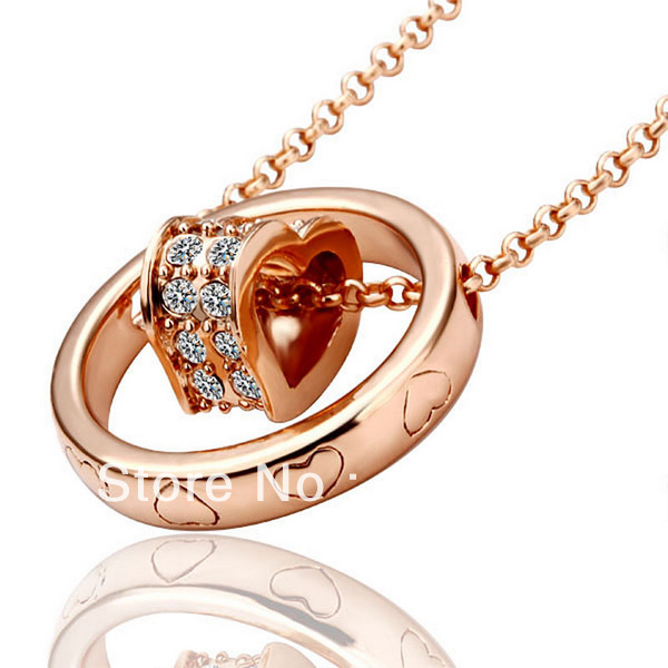 LN028 18K Rose Gold Plated Items Simulated Diamond Pave Heart Link Pendant Necklace Women Jewelry Christmas Gift Accessories(China (Mainland))