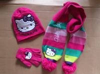 Free Shipping - retail cute kids hello kitty autumn / winter hat+scarf+gloves set, children hat, girls hat, scarf(MOQ: 1 set)