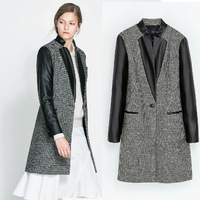 New 2013 Women Coats Winter Wool Plus Size Jacket Winter Coat Long,Fashion Plaid Long Woolen Coat, Casual Dress Free Shipping
