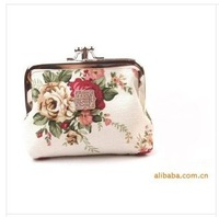 Lovely flower print cotton fabric metal button Coin Purses/Wallet Model Free Shipping 5pieces/lot  H1803