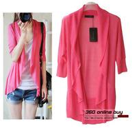 Hot selling 2014 summe ultra thin medium-long asymmetric hem sweater falbala ruffles women knitted cardigan free shipping