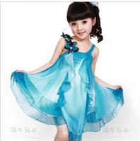 New 2013 Child summer one-piece dress girl princess dress Flowers Chiffon Dress Girl Free Shipping