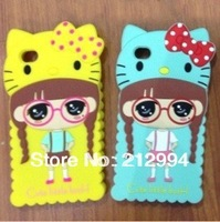Free Shipping high quality 3D cute lovely hello kitty girl Silicon Soft Case Cover for  for iphone5 5G