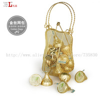 FREE SHIPPING-Little Blacksmith Cute golden hand bag / Golden tin | European creative candy box