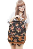 New Arrival 2014 Flower School Canvas Printing Backpacks Women Fashion Laptop Bag Free Shipping Zip