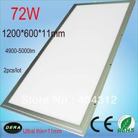 1200*600 Free shipping 72W Led Panel Lighting AC85-265V,  Square LED Panel 2pcs/lot 4900-5000lm