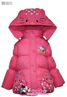 2013 new children Hello Kitty down jacket for girl autumn and winter wholesale and retail with free shipping