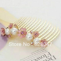 Minimum Order $30 Hair Accessory Elegant Fashion Jewelry Pearl Petal Flower Comb Insert Comb Hairpin