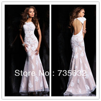 Free shipping Hot sale Sexy Backless Fit High Collar Floor length Long Applique Lace Formal Evening Dresses Evening Gowns A161