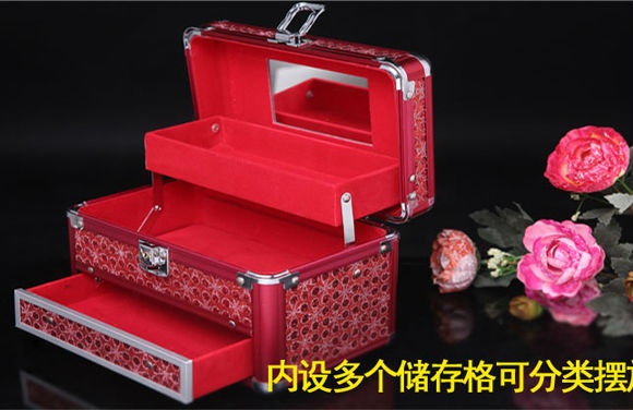 wholesale 2013 supernova sale jewelry display case with lock mirror/red color multi folding accessories storage Free shipping(China (Mainland))